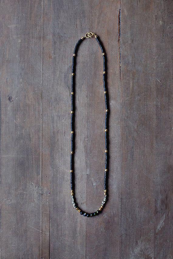 Mixed Media Boho Necklace/ Black Gold Grey Necklace by BlueBirdLab