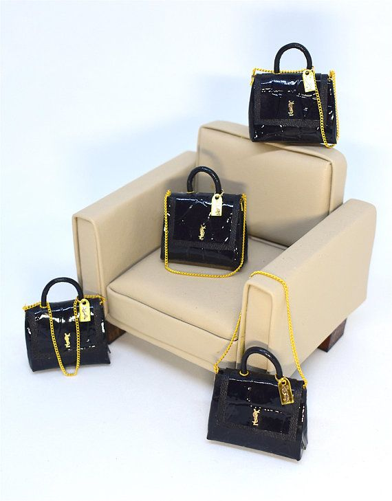 Black Handbag with Buckle Miniature 1:12 Dolls House