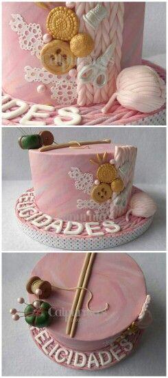 Knitting cake  Fondant wool