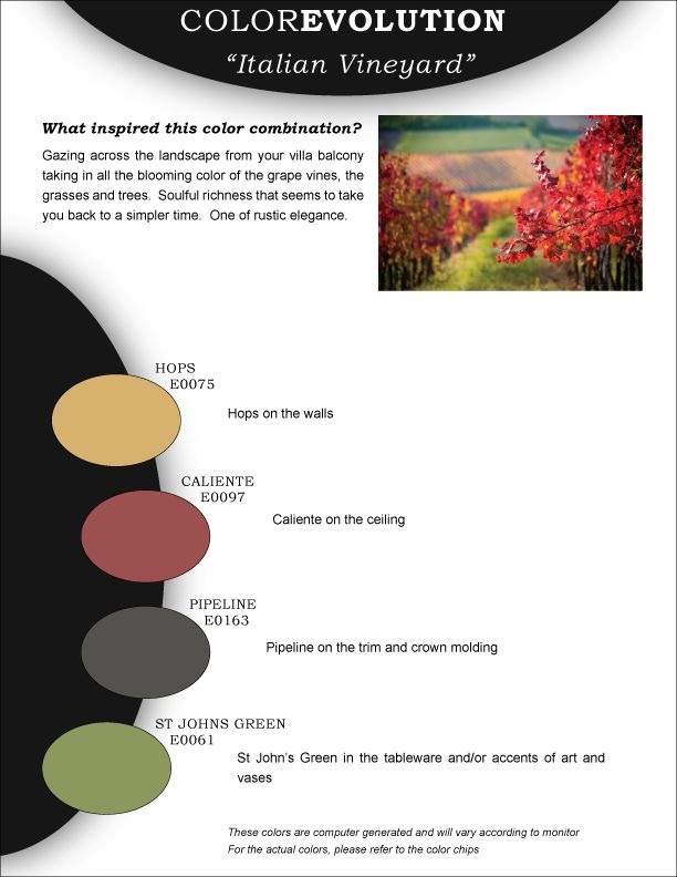 28 best in the garden of color images on pinterest color boards colorevolution color combination italian vineyard fandeluxe Gallery