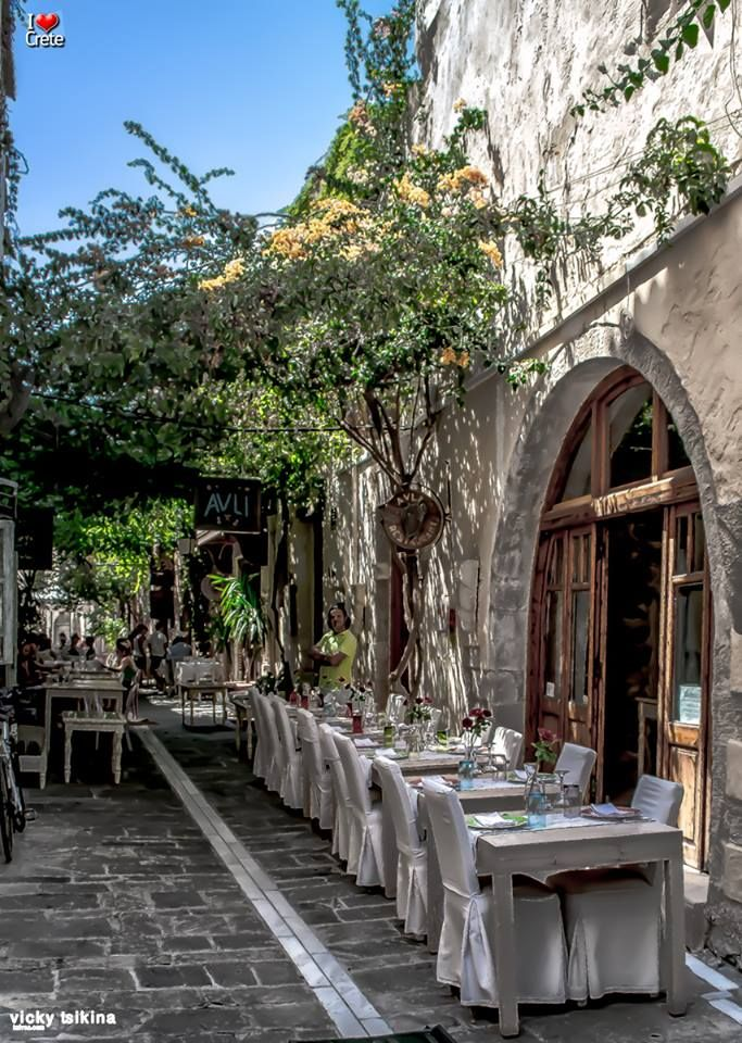 Avli dining (& lounge apartments + raw materials shop), old town Rethymno (Rethymnon), Crete, Greece.
