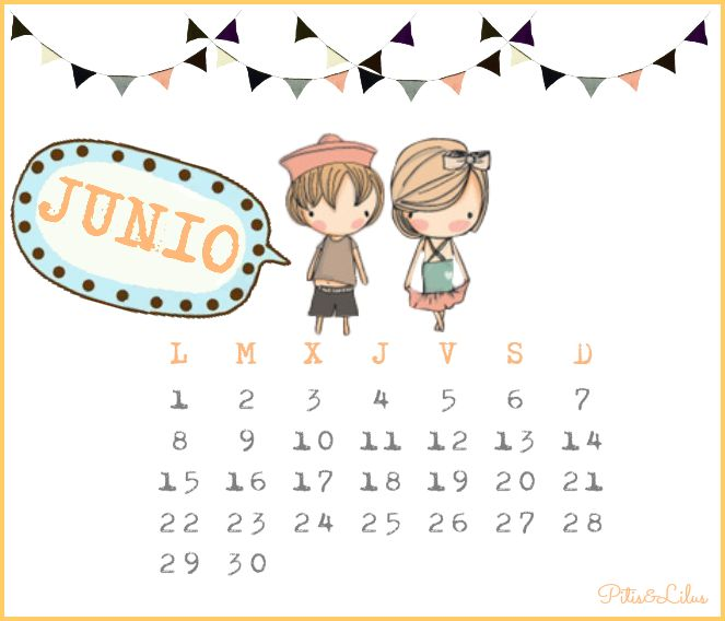 Pitis and Lilus: CALENDARIO IMPRIMIBLE Y FONDO PANTALLA... JUNIO 2015