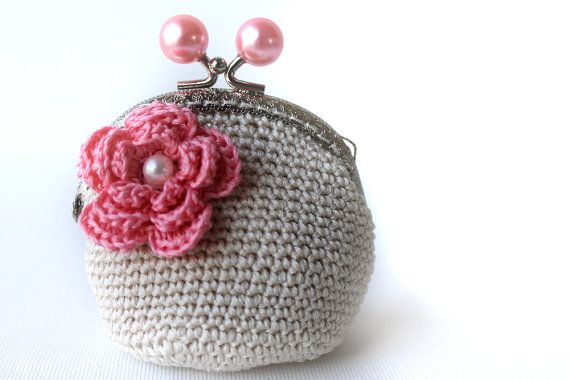 Coin Purse  Pearly Pink Crochet Coin Purse  pink by LiveFashion