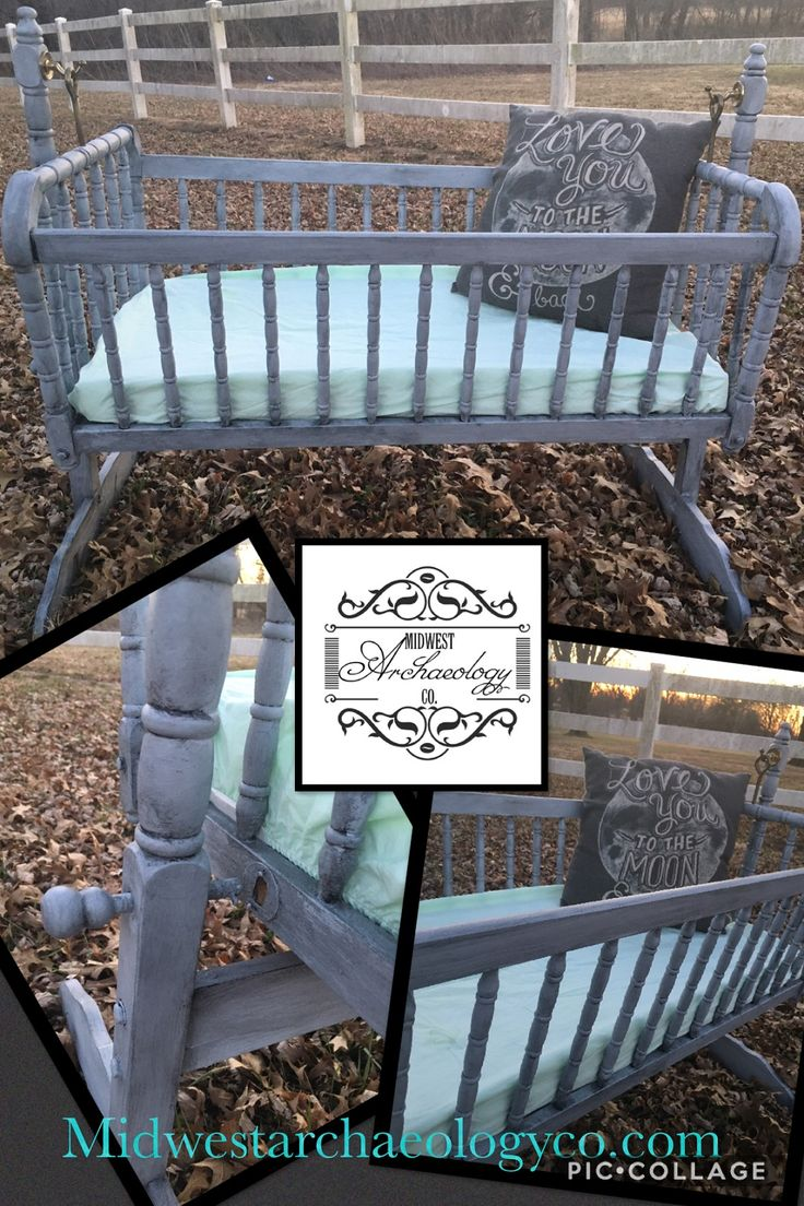 Just listed is this Gorgeous vintage Jenny Lind cradle/bassinet! She is in great condition. The spindled rails are exquisite.  She has been painted in a dove grey and then black glazed. She is protected with poly!