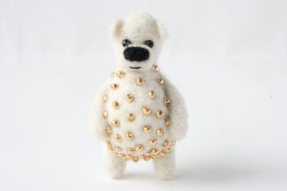 SUMMER SALE 40%   White bear with golden beads by MistrSandman
