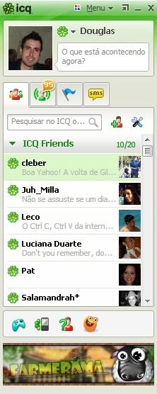 Olha como está a lista de contatos do @Douglas Rizzi . Para adicioná-lo, copie e cole o número 310977698 no search do ICQ!