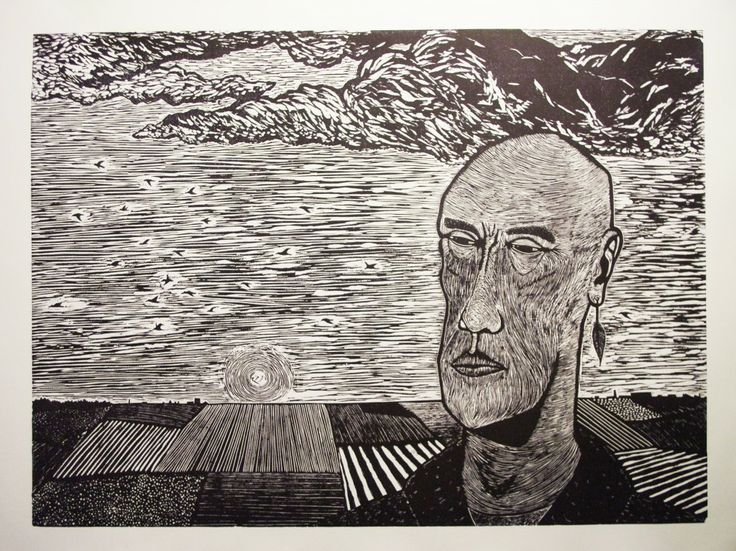 "linocut 50 x 70 cm ""I can feel the fields for a change"""