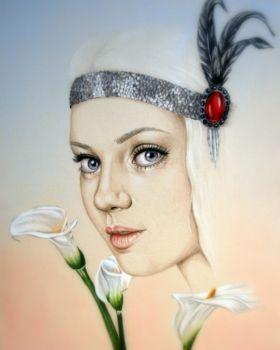 Maisie Lynn - 9 by 12 Flapper Pencil Portrait Artist: Nylander, Louise Artwork title: Maisie Lynn