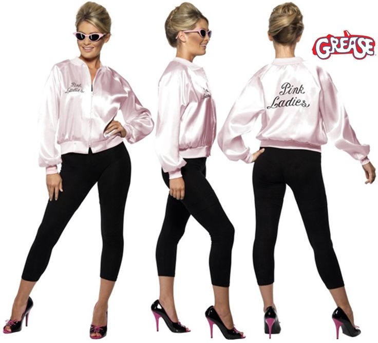 Chaqueta Pink Lady de Grease con logo bordado mujer. Disponible en varias tallas. Disfrázate de la auténtica Sandy Olson (Olivia Newton-John) en la mitica película GREASE. El precio incluye sólo la chaqueta. Podrás ver pelucas y gafas en la sección de Complementos.