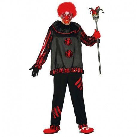Disfraces Halloween | Disfraz de payaso asesino. Contiene casaca con borlas y volantes en el cuello y pantalón a petachos. Talla M/L. 18,95€ #payaso #payasoasesino #disfrazpayasoasesino #disfrazpayaso #disfraz #halloween #disfrazhalloween #disfraces