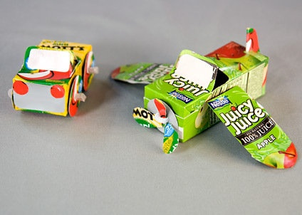 Juice Box Car & Plane- the boys would love these.