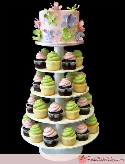 cup cakes - i like the little cake on top. I want a small two tiered cake for us, then cupcakes for everyone else.