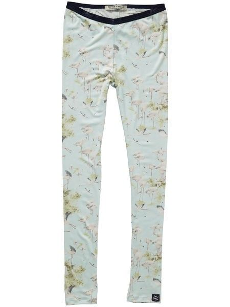 Allover Flamingo Print Light Blue Leggings 92401