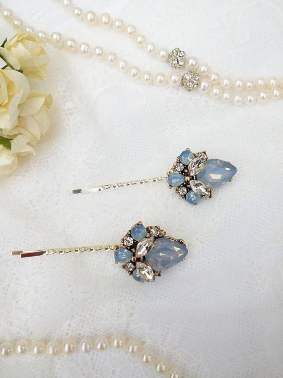 Blue opal hair pins for brides