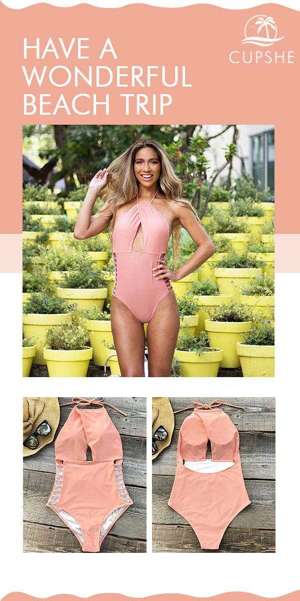 85deb1a76b485 Flattering One-piece Swimsuit, features halter design and strappy-details  at sides. Solid pink makes it so cute! Good quality & comfy feeling are  must-have ...