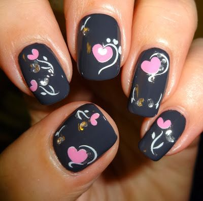 Wendy's Delights: Sparkly Nails Pink Hearts Jewel Stickers @Amy Jabara Blondie-Nails.co.uk