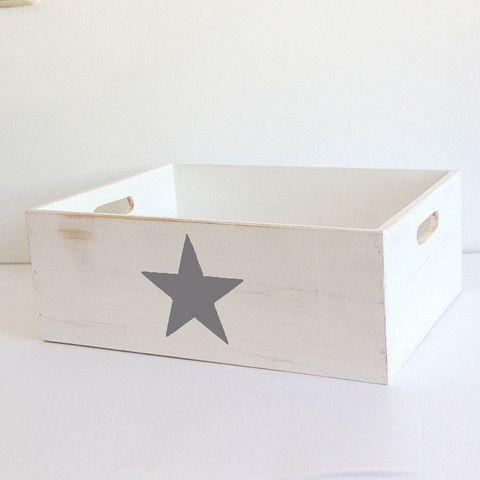 Caja de Madera Estrella Gris