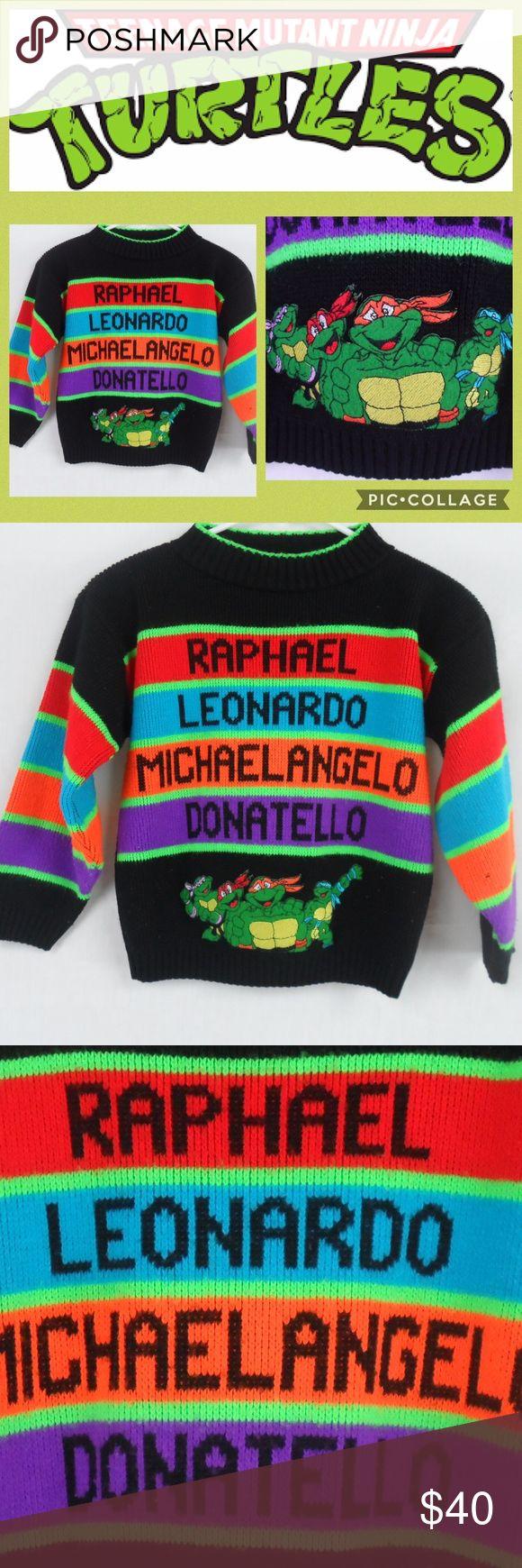 90s Teenage Mutant Ninja Turtles Sweater Super cool!!  90s (Hot Cashews) Acrylic-Neon  **Small Snag On Left Sleeve (See Last Photo)** KIds Size: Small/Medium  (Unisex) Hot Cashews Shirts & Tops Sweaters