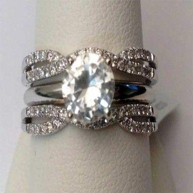 14kt White Gold Size 6 Split Shank Solitaire Enhancer Diamonds Ring Guard Wrap (0.35ctw)...(RG321852528689).! Price: $566.99 #gold #diamonds #ringguard #wrap #enhancer #fashion #jewelry #love #gift