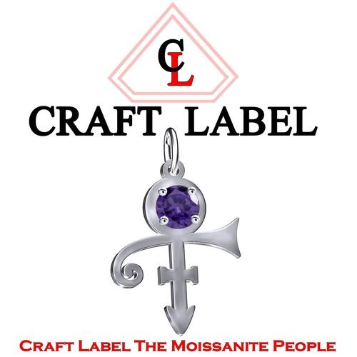 1 Ct Purple Round Cut PRINCE Singer Artist Peace Symbol UNISEX Pendant - Death Anniversary 21st April. Starting at $1