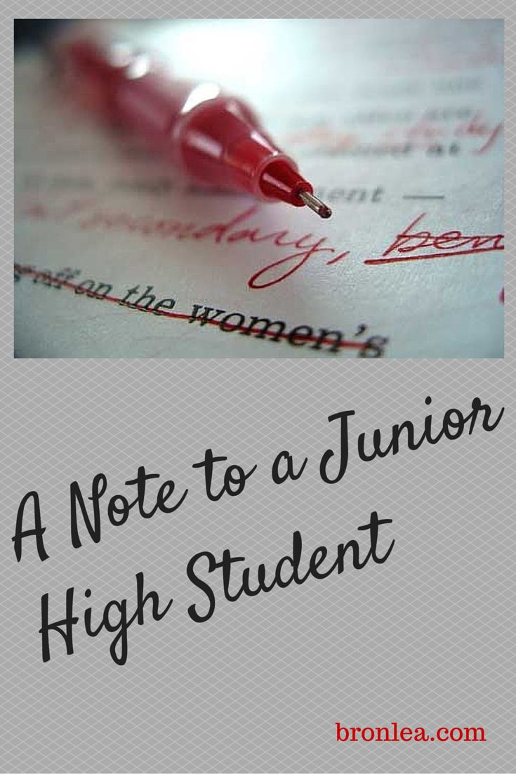 A note every junior-high student (and parent) should read.