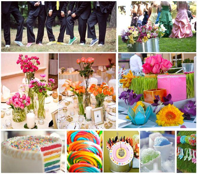 Alle kleuren van de regenboog als thema voor je bruiloft.