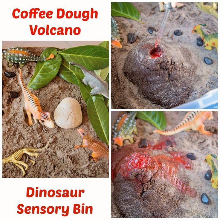 Coffee Dough Volcano, Dinosaur sensory bin