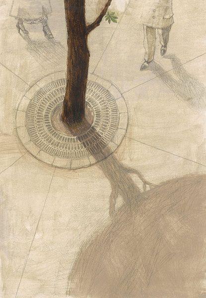Maurizio Quarello - 'L'albero di Anne', Orecchio Acerbo, Roma 2010 - Tecnica mista: matita e acrilico