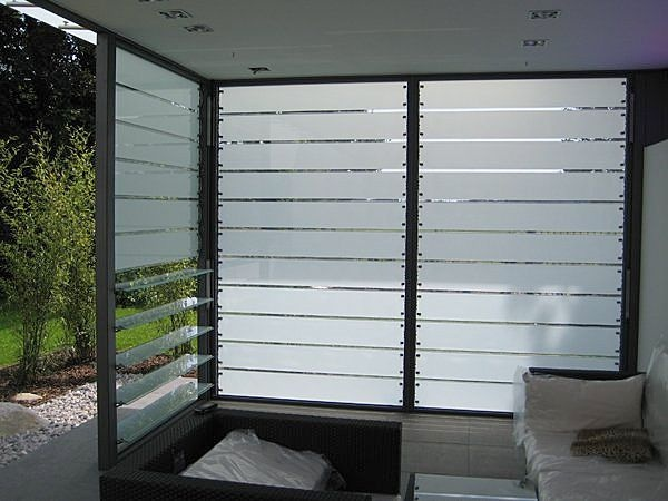 Frosted louvered windows - bathroom