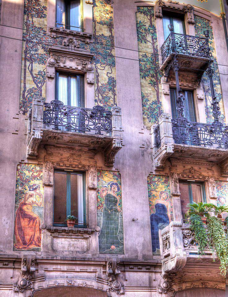 Art Nouveau architecture - Casa Calimberti in Milano, Italy