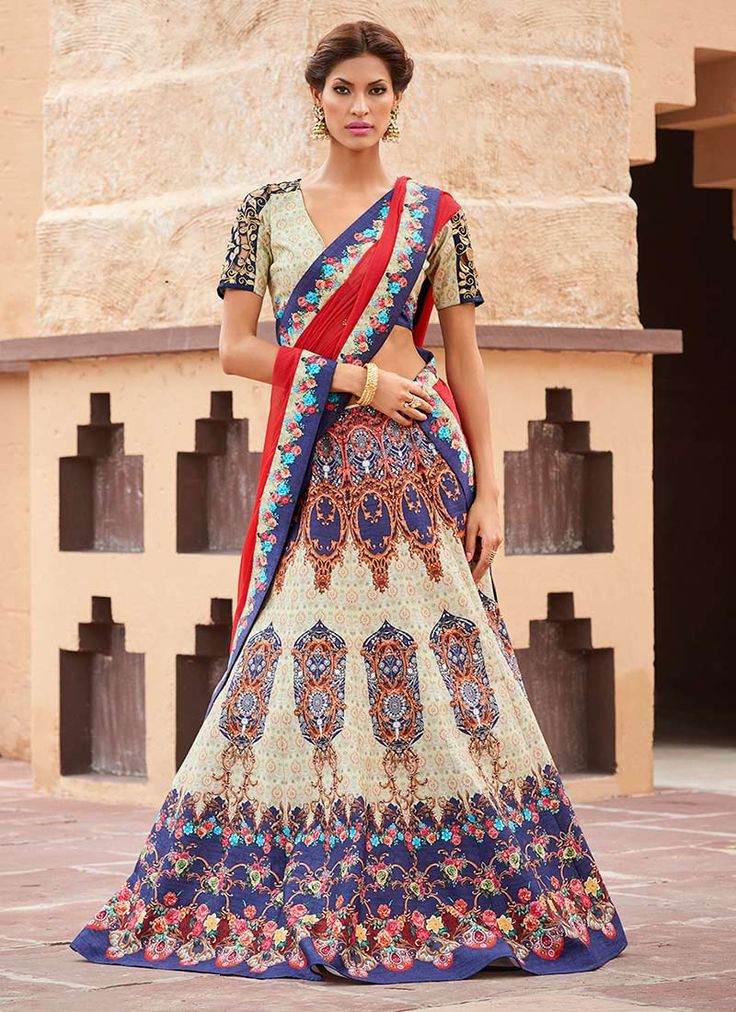Buy Off White Satin Silk A Line Lehenga online from the wide collection of a-line-lehenga.  This Off White  colored a-line-lehenga in Silk  fabric goes well with any occasion. Shop online Designer a-line-lehenga from cbazaar at the lowest price.