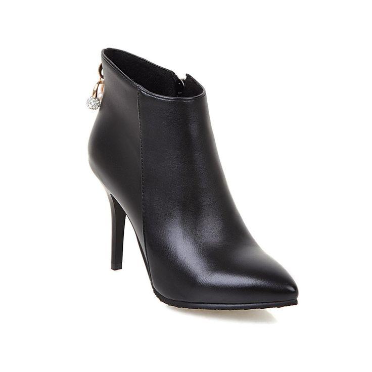 2016 мода женская обувь ботинки женщин зимние ботинки высокой пятки обувь тонкий каблук ботинки poined toe botas свадебные туфли женщина