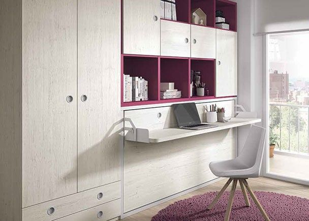 Dormitorio juvenil con cama abatible horizontal escritorio y armario