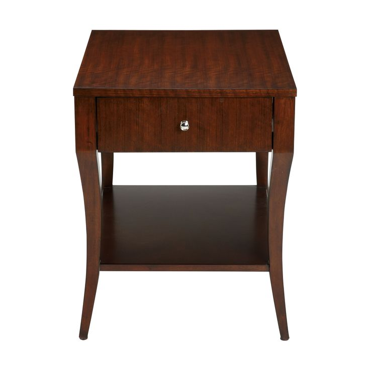 The Fetching Figure Of This End Table Is Matched By Its Attractive Storage Features Elegant Saber Legs Support A Functional Front Drawer And Shelf Making