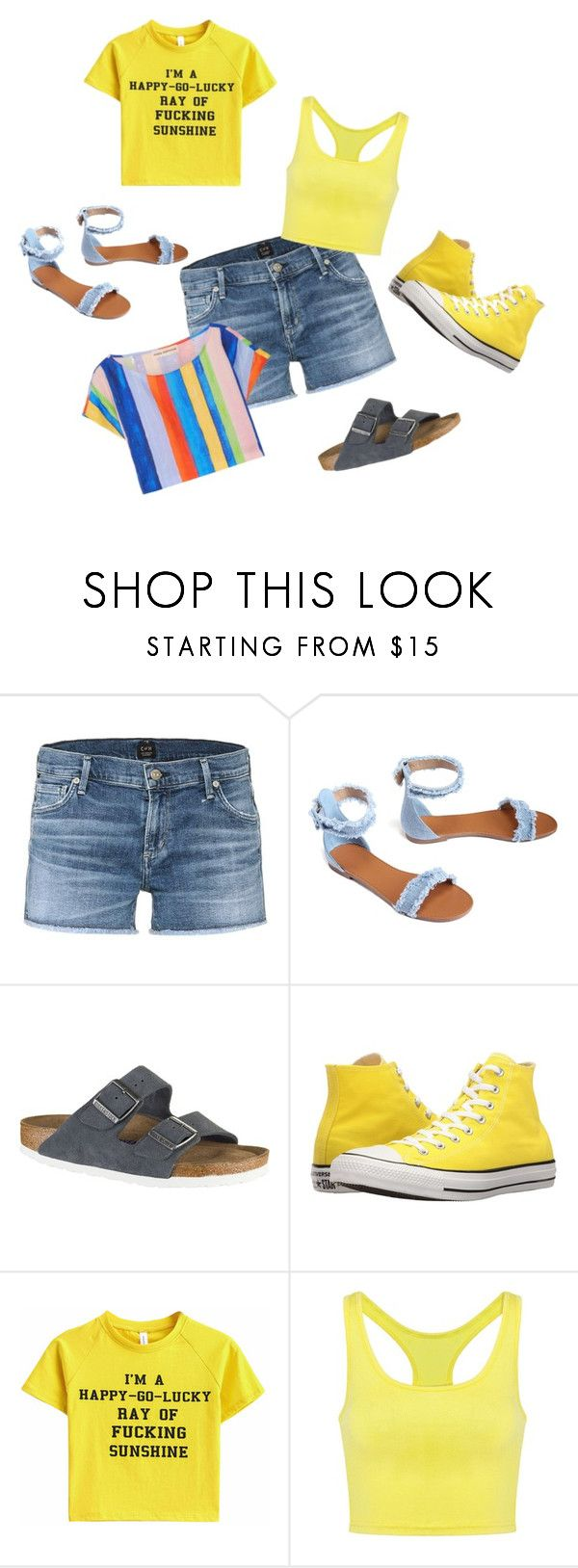 Sunshine Trio by rhonda-hemling on Polyvore featuring Mara Hoffman, Citizens of Humanity, Birkenstock and Converse