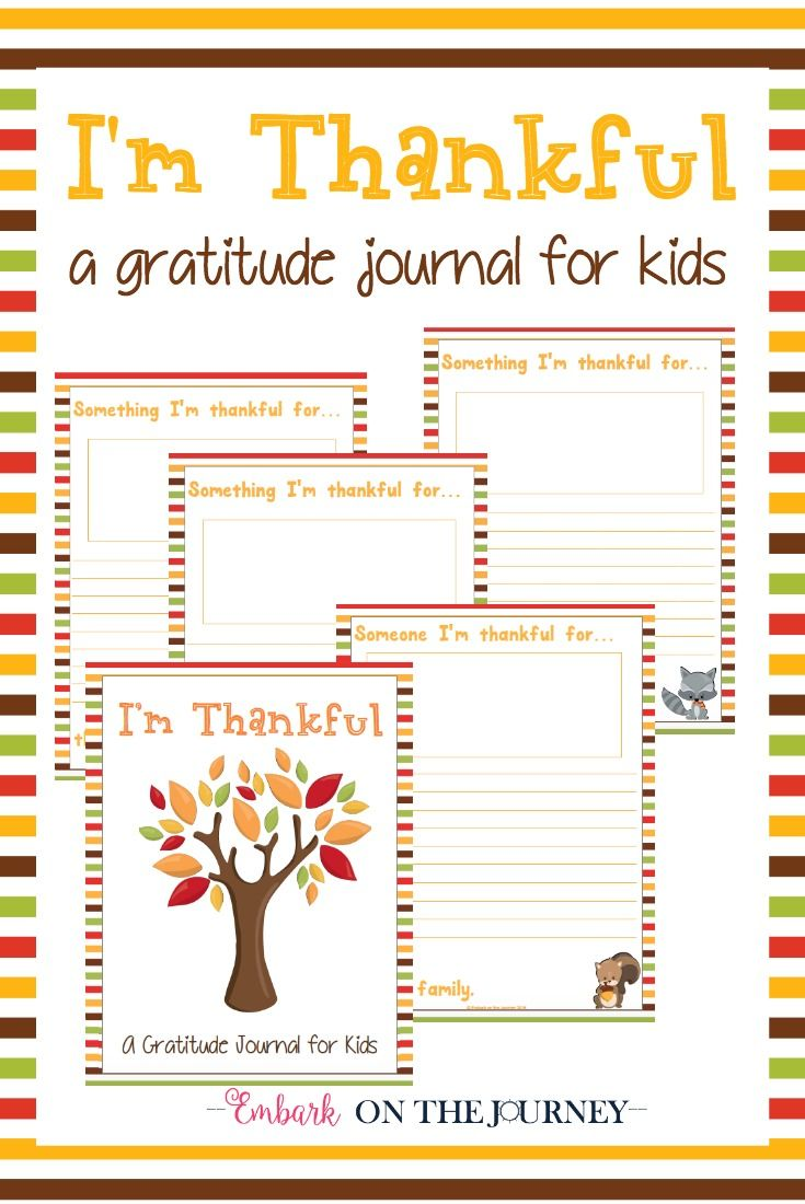Free Printable Quot I M Thankful Quot Gratitude Journal For Kids