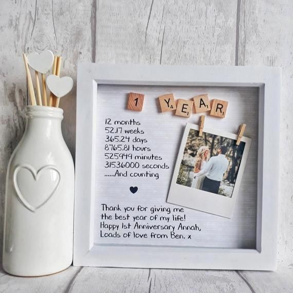 First Anniversary Frame With Images Paper Gifts Anniversary Anniversary Frame Diy Anniversary Gift