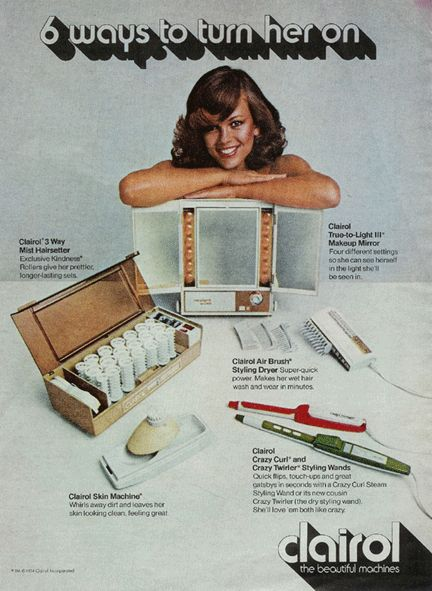 Clairol appliances.  I remember these.  I loved the light up make up mirror.  You could change the lighting on it!