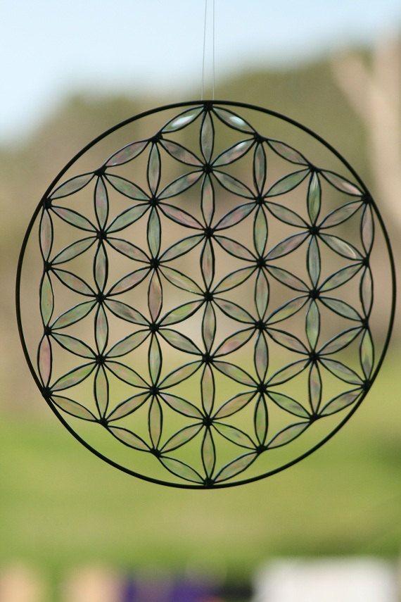 Sacred geometry suncatcher flower of life stained glass Mandala yoga