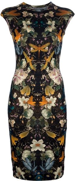 ALEXANDER MCQUEEN Midlength Floral Print Dress - Lyst