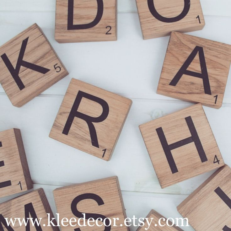 """Large Scrabble Tiles to use as Home Decor! Large size (5.5"""" x 5.5) Small Size (3.5"""" x 3.5"""") Available to hang on the wall or stand free on furniture. Coaster sizes available as well!"""