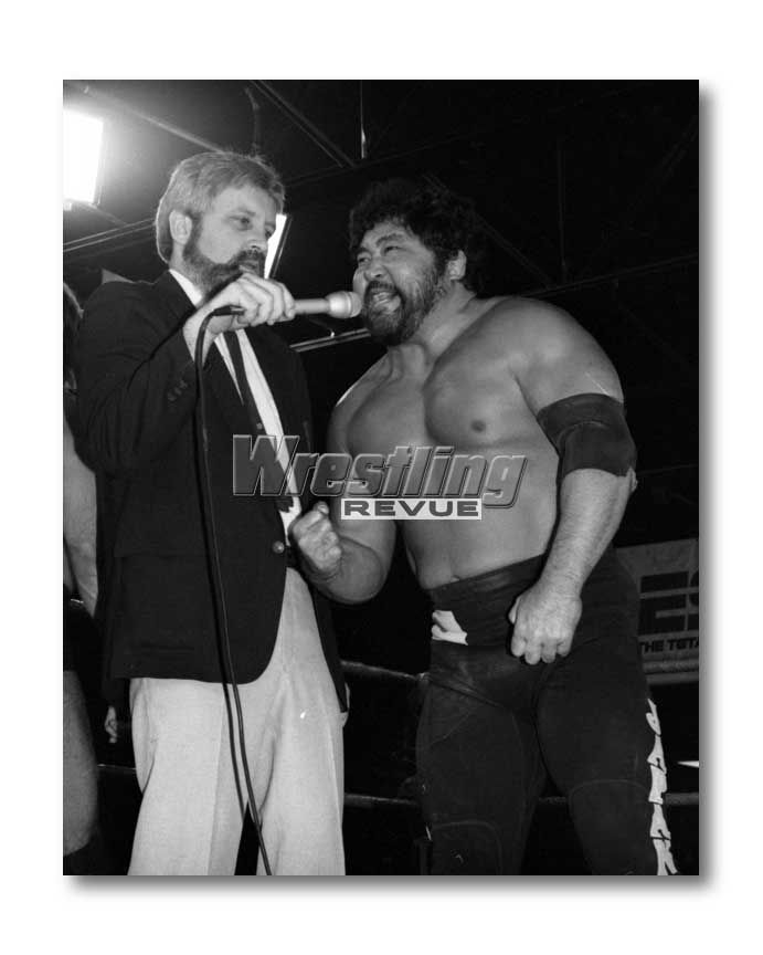 Mr. Saito interviewed by Larry Nelson in AWA. Once managed by Bobby Heenan.