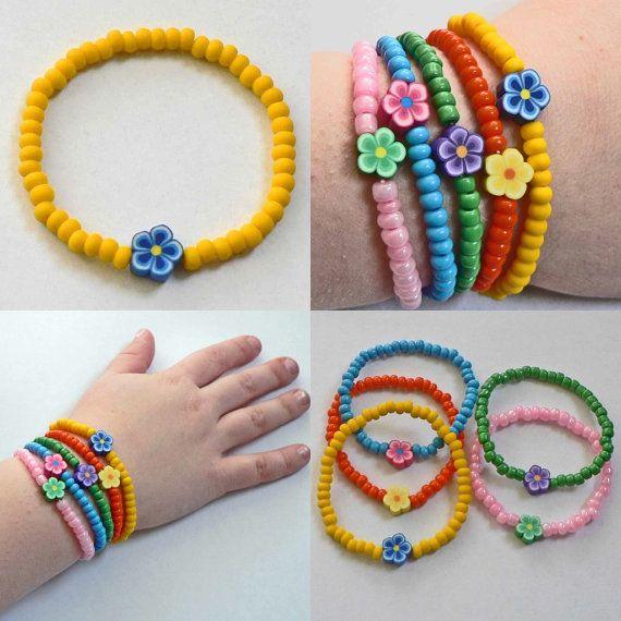 Little Girls Dora the Explorer inspired Bracelet Yellow beads blue flower Great Stocking Stuffer for Toddlers Preschoolers Kids and Children on Etsy, $3.00