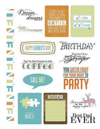 Whole page of free downloadable sentiments from the June 2014 issue of Paper Crafts & Scrapbooking