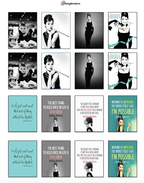 Audrey Hepburn/Breakfast at Tiffany's Inspired Erin Condren Vertical Planner Stickers-Printables