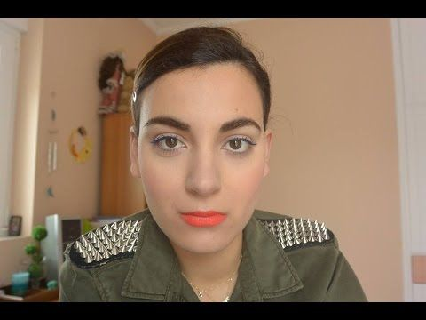 super bold orange lips blue mascara tutorial
