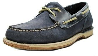 Rockport Perth Men Moc Toe Leather Blue Boat Shoe.