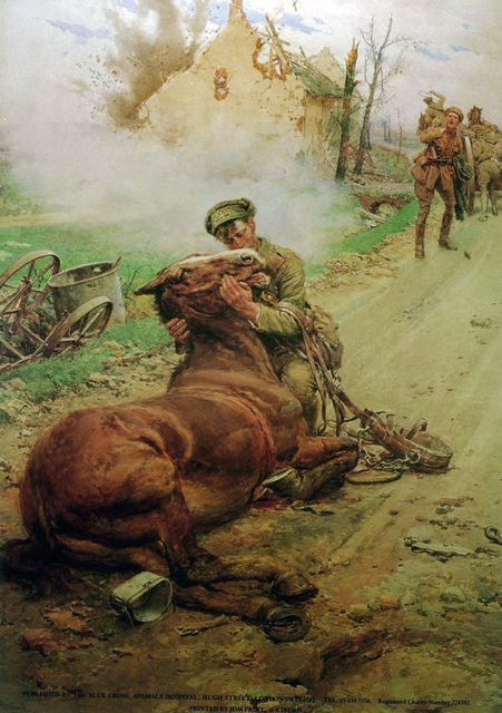 """""""Goodbye, Old Man.""""  Depicting a distraught British cavalryman saying farewell to his dying horse, this painting was done by Italian artist Fortunino Matania to raise awareness for the Blue Cross, a British animal charity which aided the animal victims of war."""