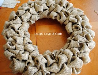 burlap wreath diy...REALLY like this method better than the wire base & pipe cleaners!