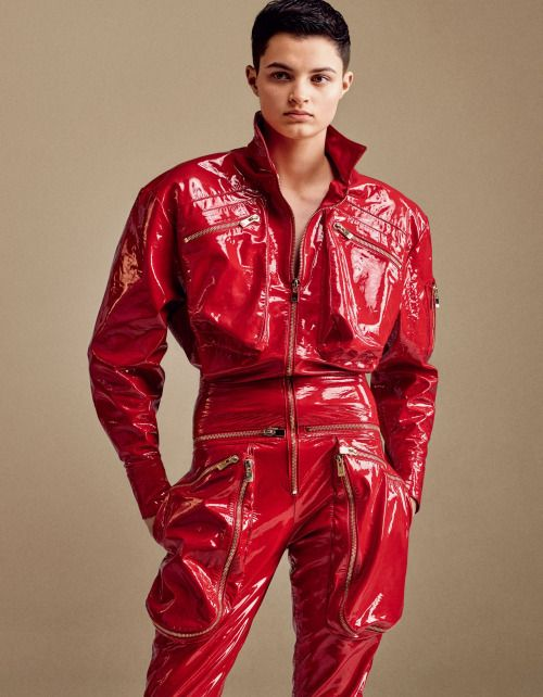 Red Leather Jumpsuit Breeze Clothing